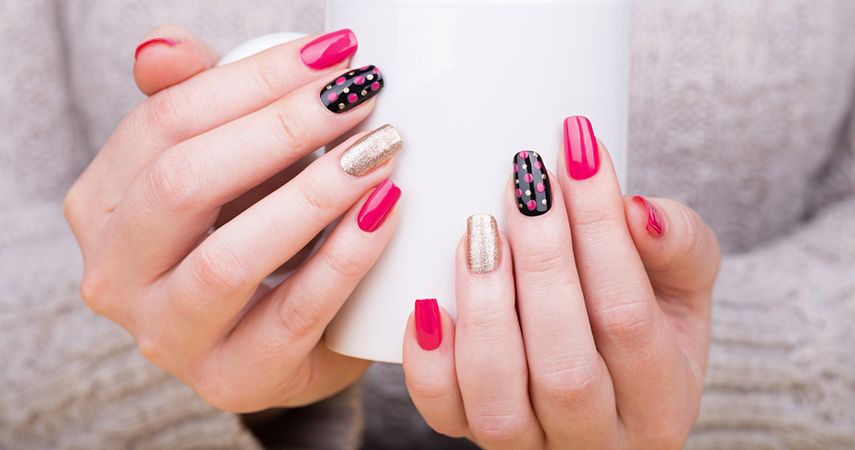 There are many nail shapes to choose from. This woman wears a natural nail shape.