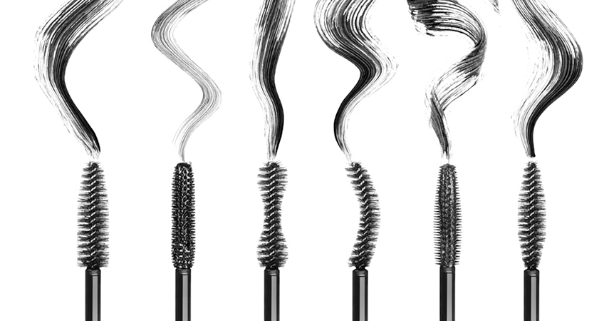 A set of different mascara brush types in a row.