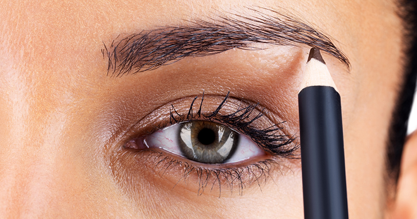 You can use a brow pencil to fill in sparse areas of your eyebrows