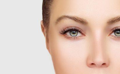 eyelash mites woman green eyes