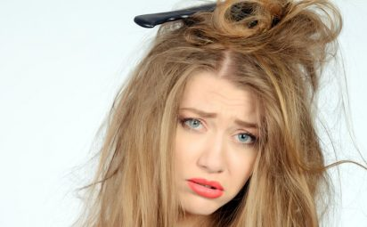 woman having a bad hair day with tangled hair