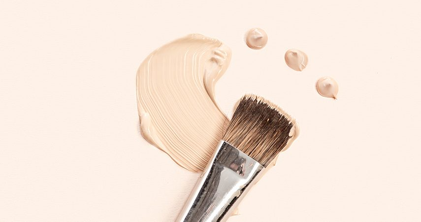 Liquid foundation makeup and brush