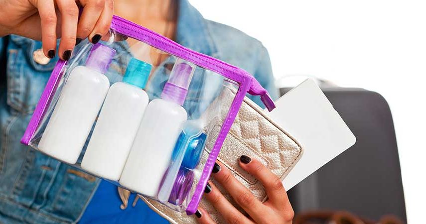 Makeup products packaged in a clear bag