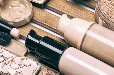 Different types of liquid and powder foundation