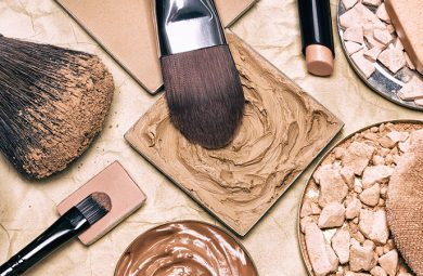 makeup products to even skin tone and complexion on aged paper