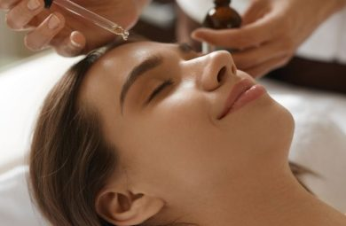 A person getting a hyaluronic acid serum treatment.