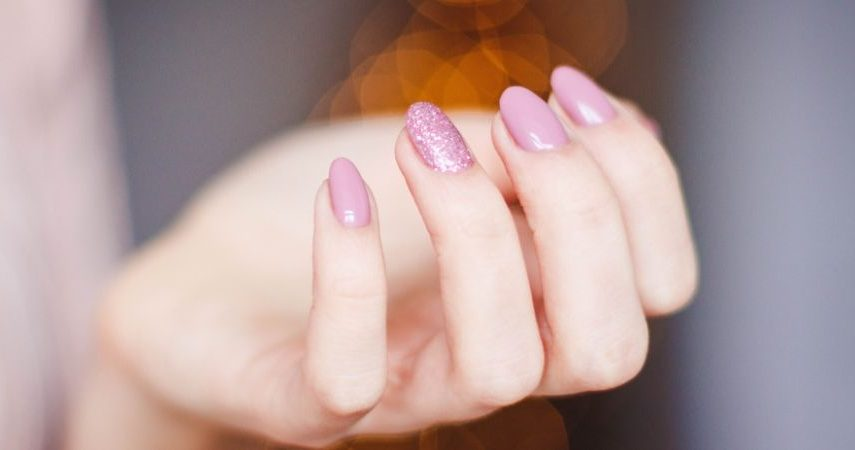 Spring colored nails.